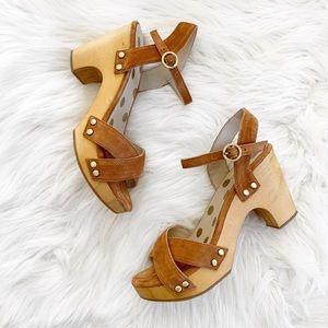 Boden Olivia Suede Wood Heel Clog Sandals